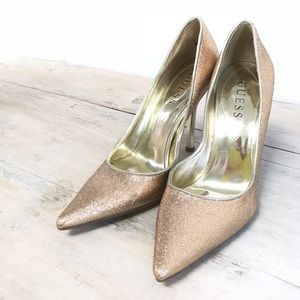 Guess Rose Gold Glitter Pointy Toe Pump Heels